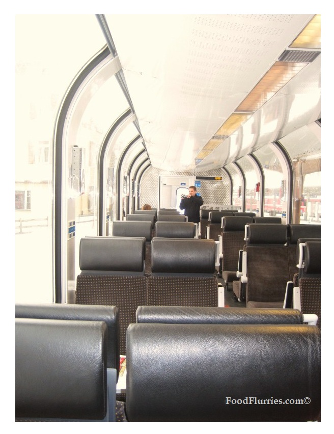 Inside the glassy panorama carriage.