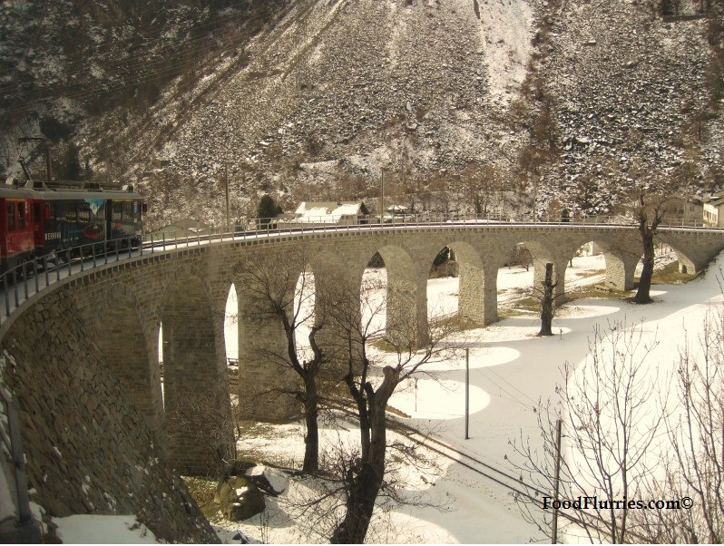 The spiral viaduct of Brusio built between 1905 - 1908.