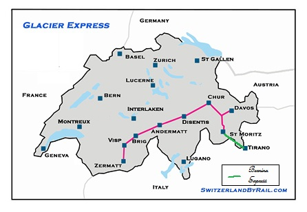 Glacier Express Map