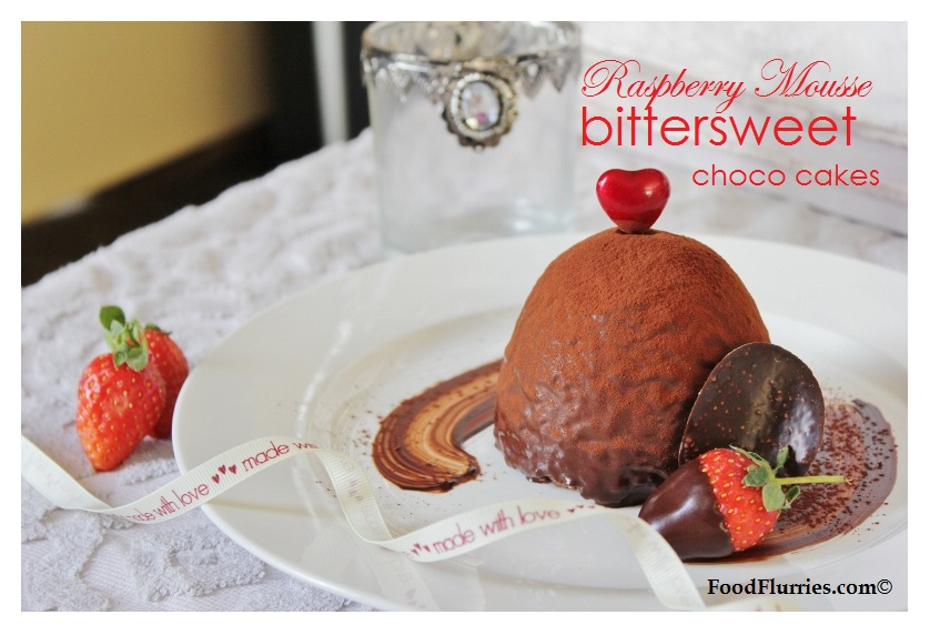 Raspberry Mousse & Bittersweet Chocolate cakes