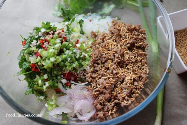 Larb Moo Ground Pork Bean Thread Noodle Salad4