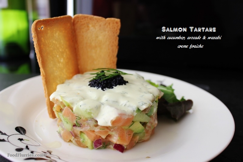 Salmon Tartare With Fresh Cucumbers And Avocado 187 Food