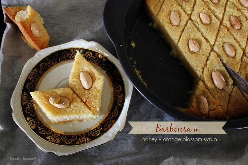 Basbousa in Honey Orange Blossom Syrup